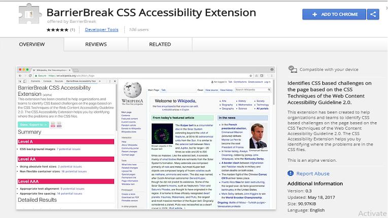 BarrierBreak CSS extension screenshot