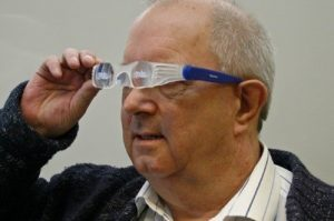a man using power glasses