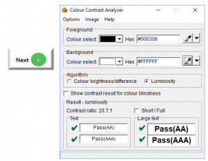 Screenshot of text Next adjacent to next icon and Color contrast analyser with 20.7:1 ratio