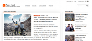 Screenshot of NewzHook website with default colour scheme