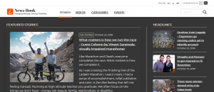 Screenshot of NewzHook website with High contrast scheme