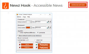 Screenshot of Newzhook website with Download App Now! button highlighted