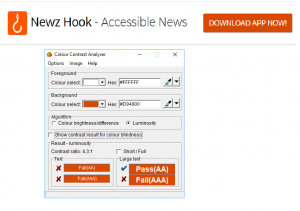 Screenshot of Newzhook website with Download App Now! button text which is bold and Color contrast analyser with 4.3:1 ratio
