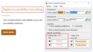 Screenshot of a website showing text Digital Accessibility consulting and Color contrast analyser with 3.5:1 ratio