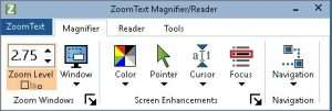A screenshot displaying various features available for ZoomText Magnifier/Reader.
