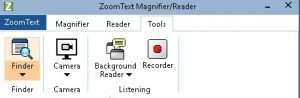A screenshot displaying new features/tools such as Finder, Camera, Background Reader and Recorder available in ZoomText Magnifier/Reader.