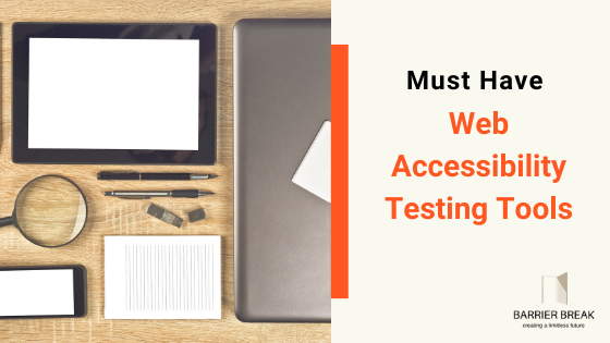a laptop, magnifying glass, mobile phone and a notepad on a desk, text written must have web accessibility testing tools