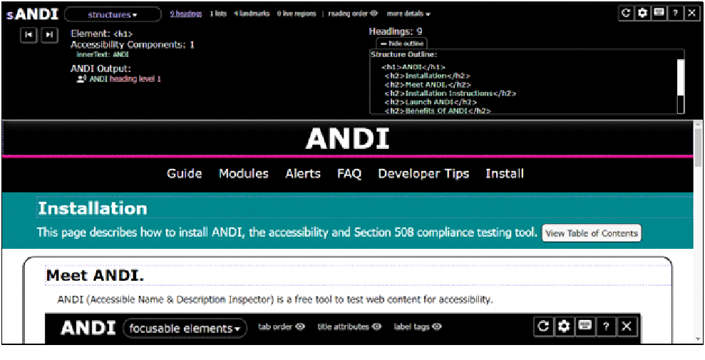 Screenshot of ANDI bookmarklet applied on ANDI's tool help page displaying Structure of the page.