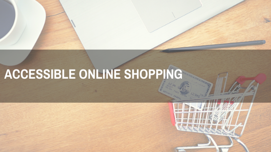 a laptop, shopping cart, text on image - Accessible Online Shopping